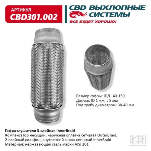 Гофра глушителя 3-слойная Interbraid ID/L 40-150