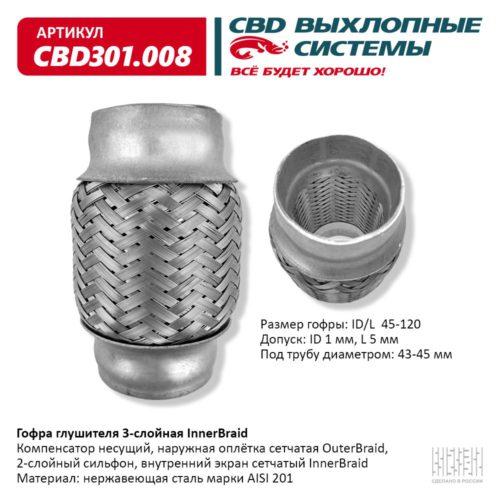 Гофра глушителя 3-слойная Innerbraid ID/L 45-120