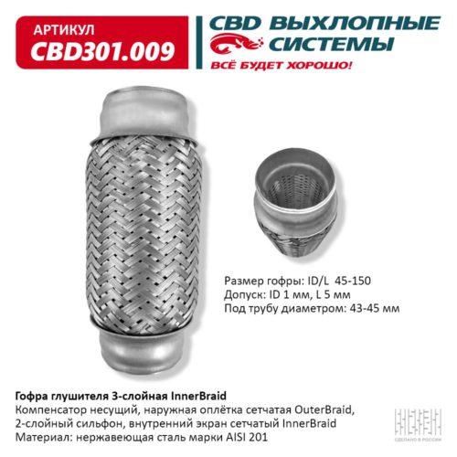 Гофра глушителя 3-слойная Interbraid ID/L 45-150